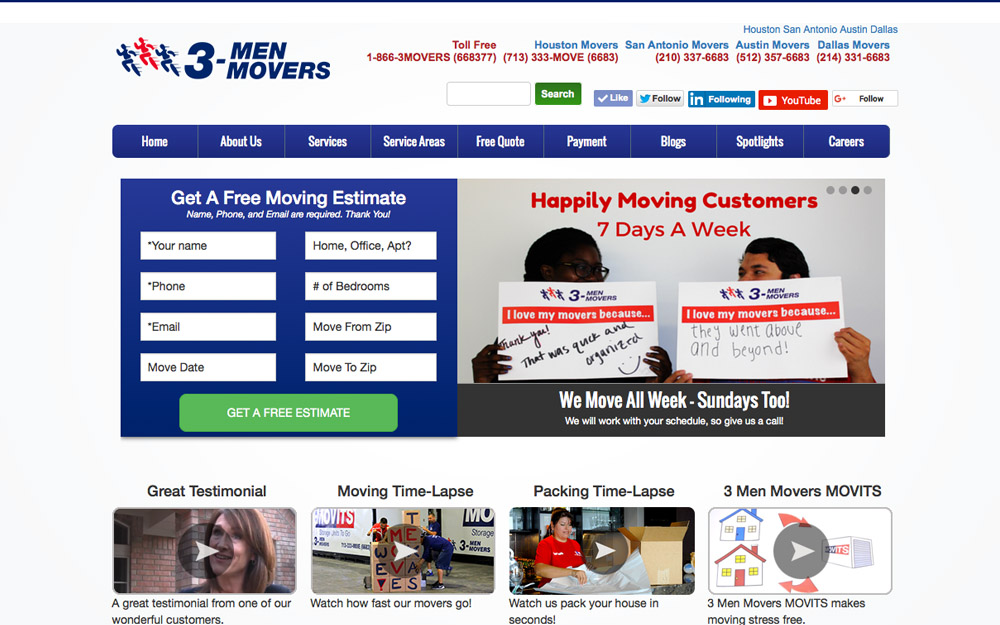 3 men movers web development
