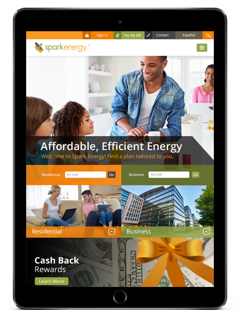 spark energy website design